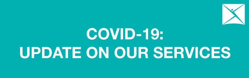 """Teal colored banner, reads, """"Covid-19: Update on our services""""."""