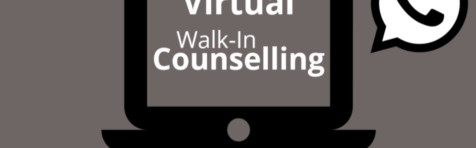 """Cartoon image of a laptop with text on the screen that reads, """"Virtual Walk-In Counselling"""". Comic style text-bubble off to the side that shows a phone inside."""