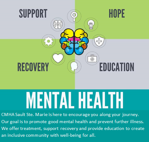 """Cartoon brain surrounded by the words: Support, Hope, Education, and Recovery. Text below that says, """"Mental Health: CMHA Sault Ste. Marie is here to encourage you along your journey. Our goal is to promote good mental health and prevent further illness. We offer treatment, support, recovery, and provide education to create an inclusive community with well-being for all."""